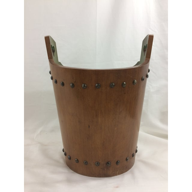 French Mid-Century Modern Teak Trash Can For Sale - Image 6 of 6