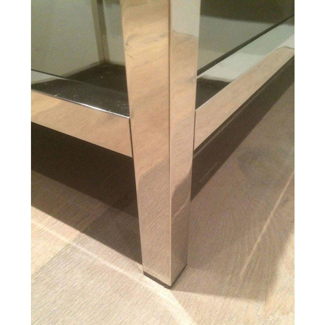 Pair of Large Chrome Side Tables with Bronzed Mirrors - Image 7 of 11