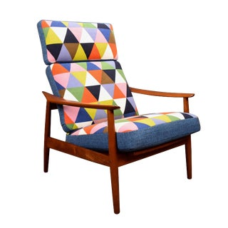 1960s Scandinavian Modern Teak Recliner Lounge Chair For Sale