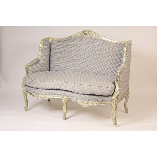 1980s Louis XV Style Silver Leaf and Painted Settee For Sale - Image 12 of 12