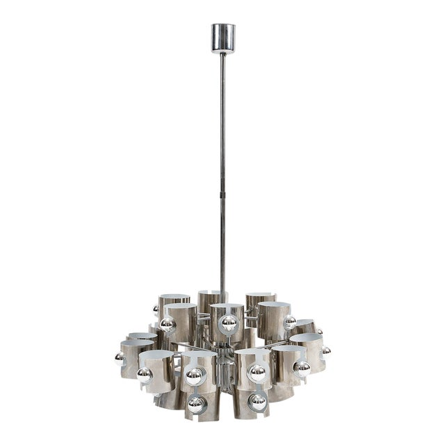 Sciolari Mid Century Modern Chrome 25-Light Chandelier For Sale