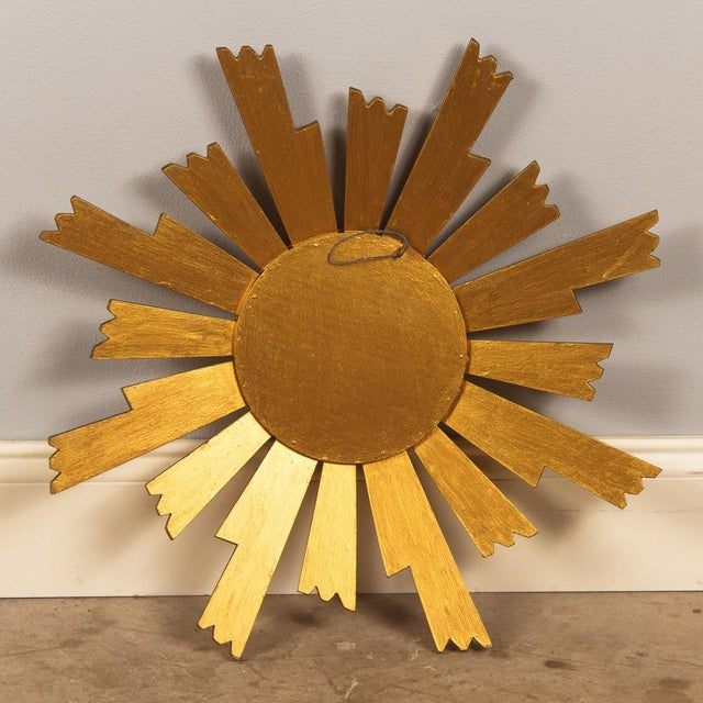 Gold French Vintage Giltwood Sunburst Mirror, 1950s For Sale - Image 8 of 8