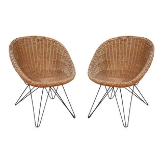 A Pair of Bamboo Italian Armchairs, Italy 50'