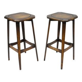 Ferguson Antique Mission Oak Wood Barstools - A Pair For Sale