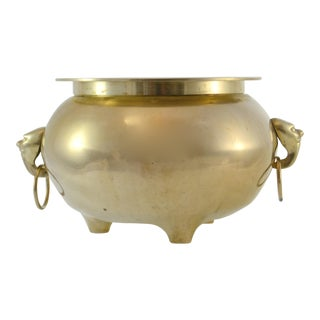"""Vintage Mid Century Solid Brass 11"""" Ring Handle Bowl For Sale"""