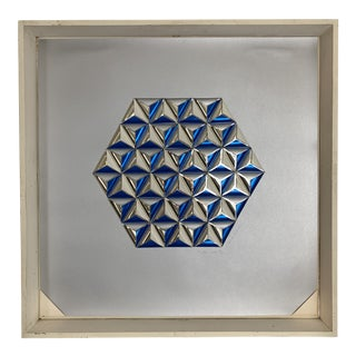 """1973 Vintage Anne Youkeles """"Arctic Circle"""" Geometric Op Art 3d Serigraph Collage For Sale"""