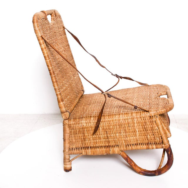 Mid Century Modern Rattan Leather Sculptural Portable Traveling Chair For Sale - Image 10 of 11