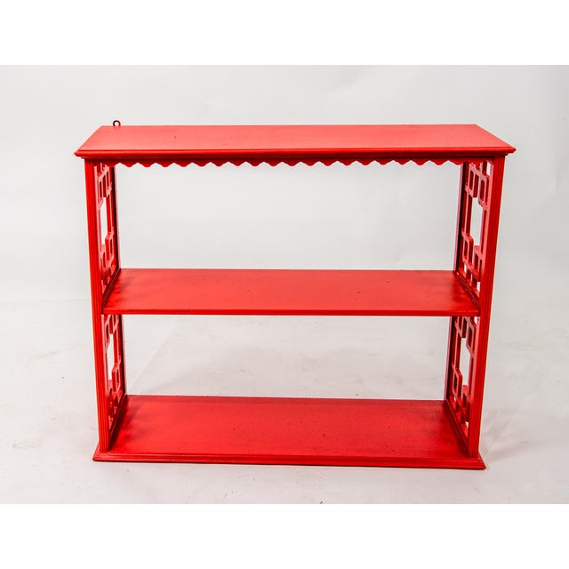 Asian Chinoiserie Mid-Century Red Etagere For Sale - Image 3 of 3