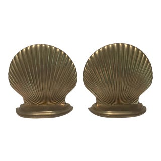 Vintage Shell Solid Brass Bookends - a Pair For Sale