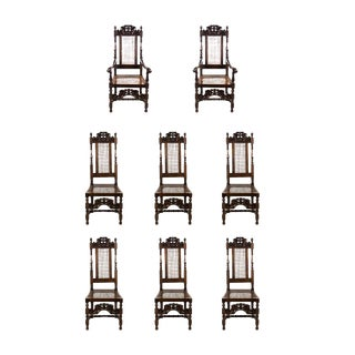 Late 19th Century Antique Jacobean Style Walnut Dining and Side Chairs - Set of 8 For Sale