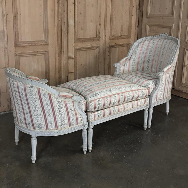 19th Century French Louis XVI Chaise Duchesse Brisee (chaise lounge) is a single chair for lounging, yet separates into...