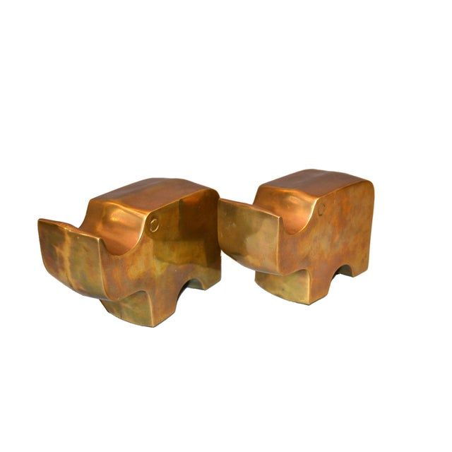 Mid-Century Modern Bronze Rhinoceros Bookends in the Manner of Fratelli Mannelli.