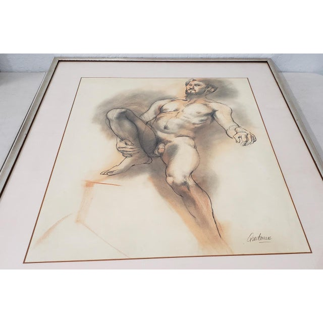 Figurative Framed Vintage Figural Nude Charcoal Study by Quitman For Sale - Image 3 of 10