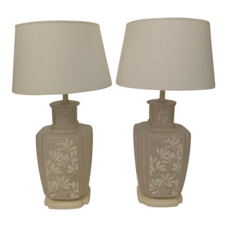 1970's Hand-Painted Frosted Glass Table Lamps - a Pair For Sale