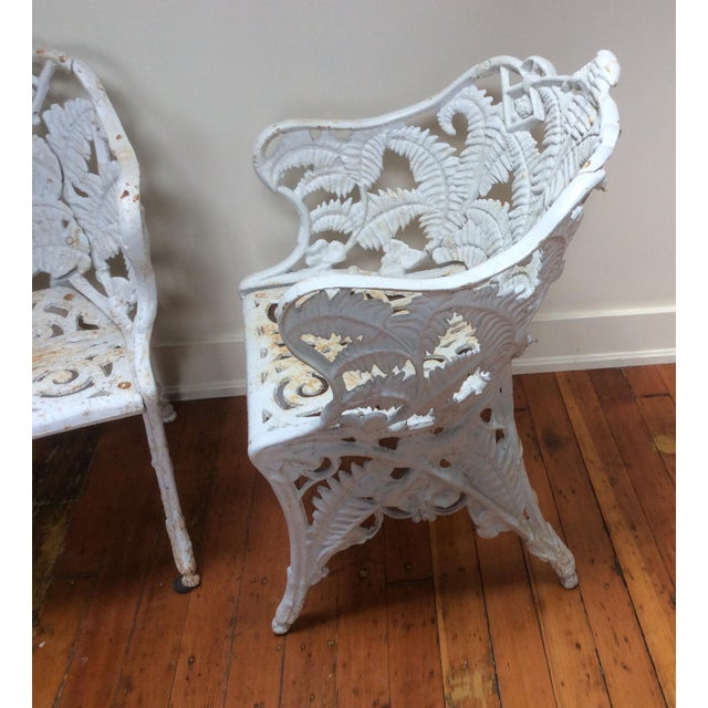 Victorian Iron Fern Garden Chairs - A Pair For Sale In San Francisco - Image 6 of 9