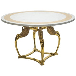 Rare Hollywood Regency Robert Thibier Brass Marble Dining Table, 1970s For Sale