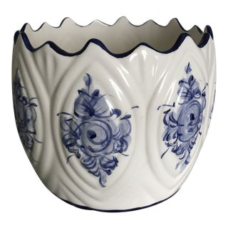 Hand Painted Blue and White Planter For Sale
