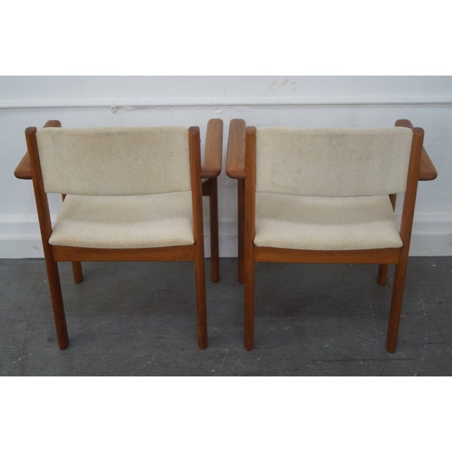 Danish Modern Teak Arm Chairs - Pair For Sale - Image 4 of 9