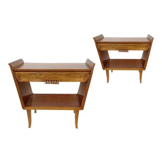 Pair of Italian clear fruitwood 1 drawer mid century modern nightstands