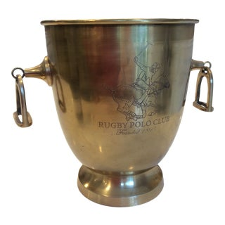 Modern Brass Polo Equestrian Ice Bucket With Stirrup Handles For Sale