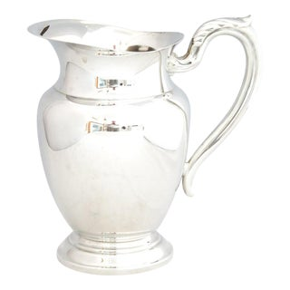 1950s Silver Water Pitcher W/Ice Shield For Sale