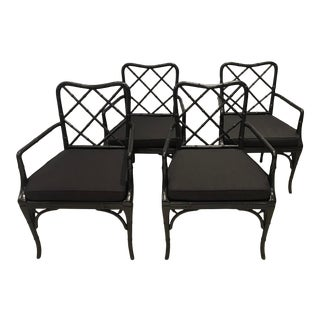Black Chippendale Arm Chairs with Detachable Cushions - Set of 4 For Sale