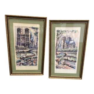 Mid 20th Century Hand Colored Parisian Architectural Prints by Marius Girard, Framed - a Pair For Sale