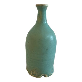 Boho Chic Turquoise Studio Pottery Vase For Sale