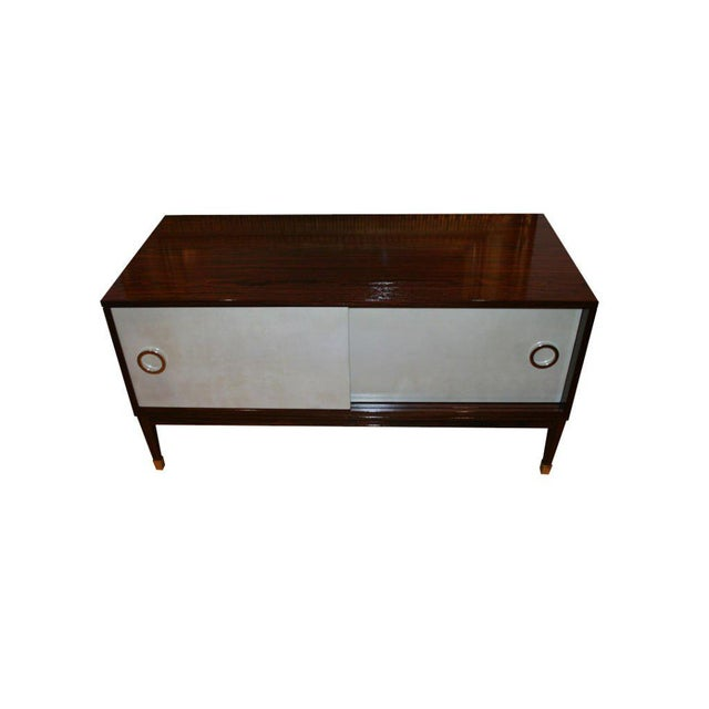 Metal Ryan Parchment Door Rosewood Console For Sale - Image 7 of 10