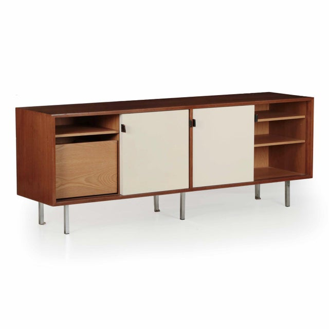 Florence Knoll Walnut and White Laminate Sideboard Credenza, Signed - Image 3 of 11