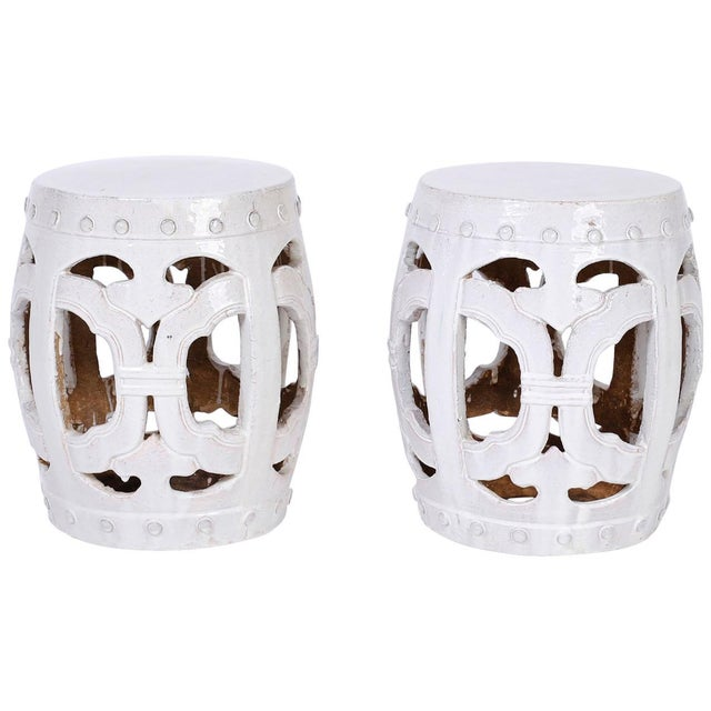 Ceramic White Chinese Garden Seats - A Pair For Sale - Image 7 of 7