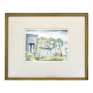 Mid Century Modern Emil Weddige Framed Signed Lithograph Fish Shanties For Sale