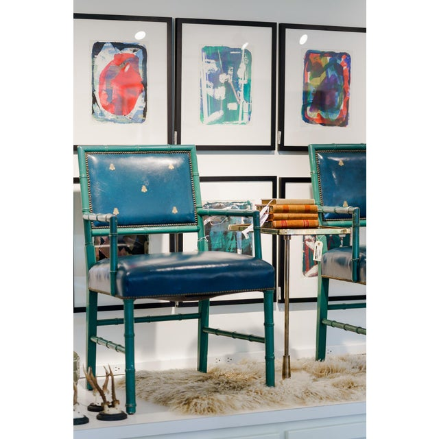 Metal Mid-Century Blue Arm Chairs - a Pair For Sale - Image 7 of 8