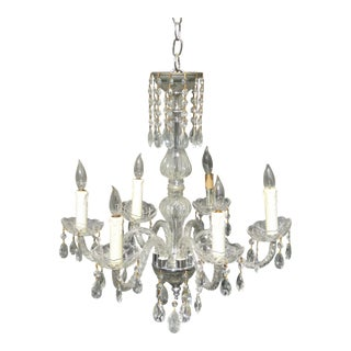 Vintage French Provincial Crystal Six Arm Chandelier Light For Sale