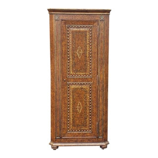 1990s Painted Faux Leather Decorated Narrow Corner Cabinet Cupboard For Sale