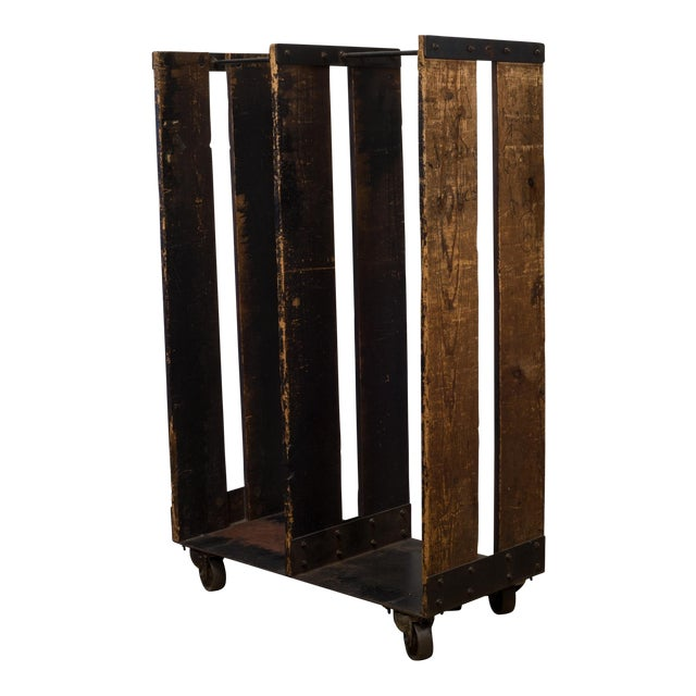 Pair of Early 20th C. Wood and Steel Factory Garment Rolling Racks C. 1930s For Sale