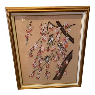 Vintage Framed Embroidery of Cherry Blossoms For Sale