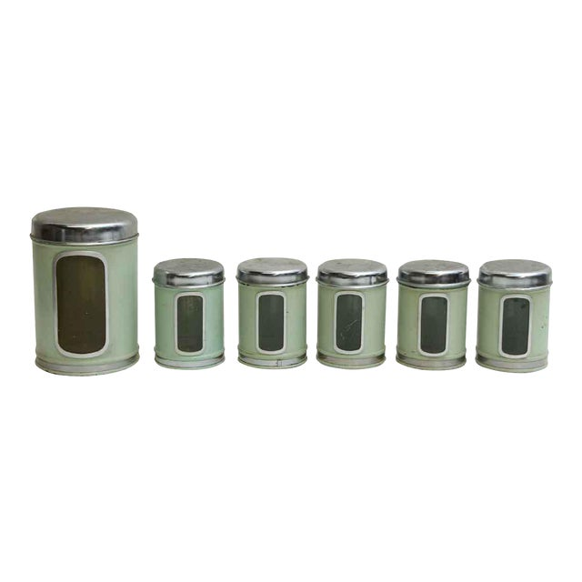 Vintage Brabantia Green French Kitchen Canisters - Set of 6