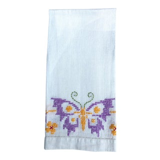 Vintage Butterfly Hand Towel For Sale