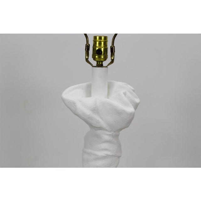 "Mid-century white draped plaster table lamp after John Dickinson Dimensions; 10""Width x 9""Depth x 24""Height to top o..."