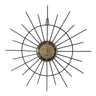 Vintage 1960s Starburst Wall Clock For Sale