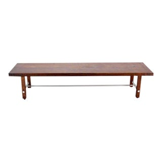 1990s Vintage Long Solid Walnut-Top Coffee Table or Bench For Sale