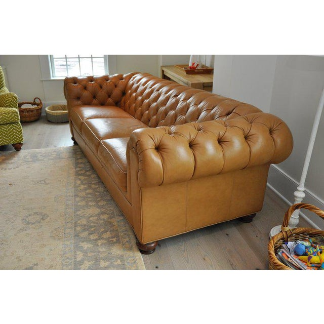 Ethan Allen 3 Seat Chesterfield Style Leather Tufted Sofa For Sale - Image 5 of 10
