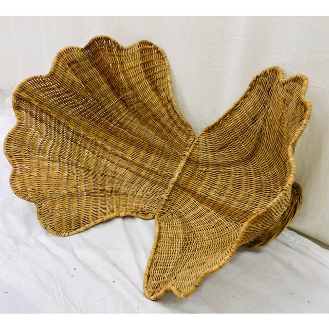Mario Torres Vintage Woven Wicker Clam Shell Basket For Sale - Image 4 of 13