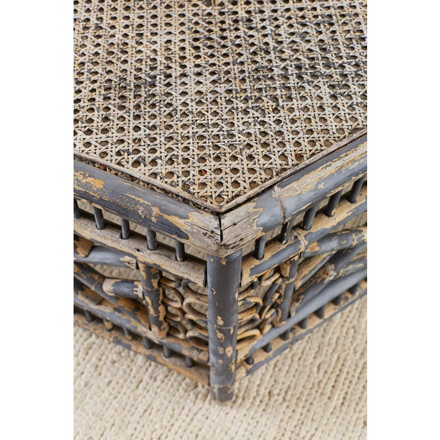Hexagonal Bamboo Brighton Chinese Chippendale Cocktail Table For Sale - Image 12 of 13