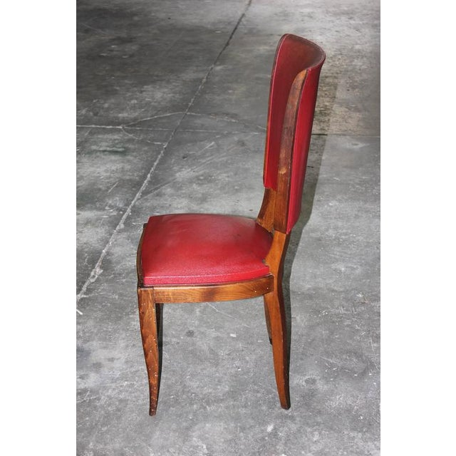 Set of Six French Art Deco Classic Solid Mahogany Dining Chairs, circa 1940s. - Image 10 of 10