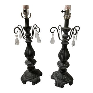 Stone Old World Grey Stone Lamps - a Pair