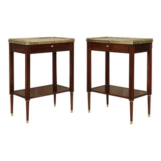 1940s Neoclassical Mahogany Jansen Style Nightstands - a Pair For Sale