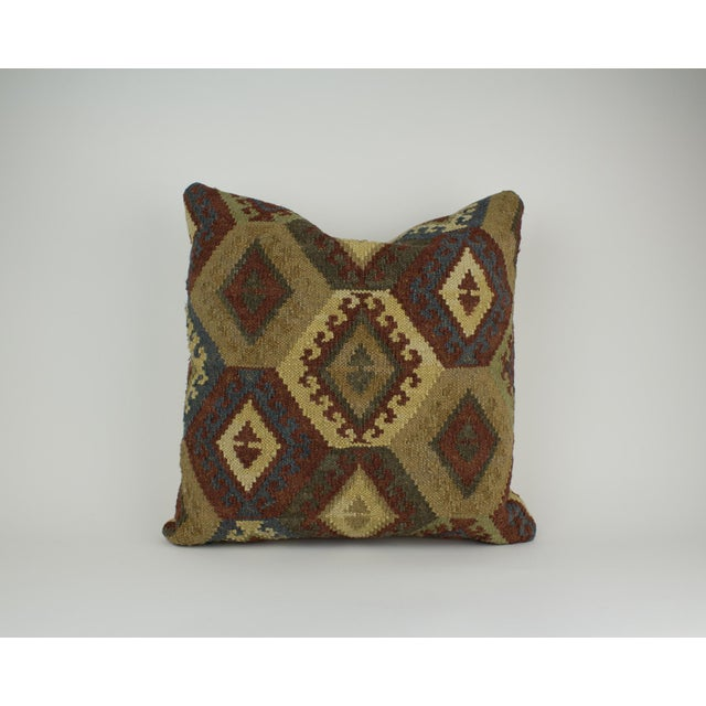 Blue Brown and Blue Woven Kilim Pillow For Sale - Image 8 of 8