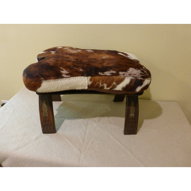 Antique Camel Saddle Stool With Cowhide Cover - Image 2 of 9